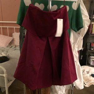 Red strapless keepsake gown